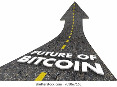 Future of Bitcoin Road Up Cryptocurrency Modern Payment 3d Illustration