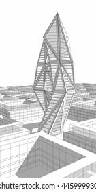 Future city architecture. 3d illustration