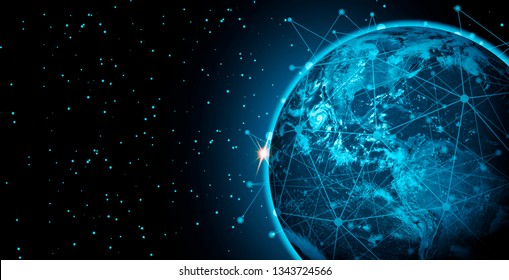 Future communication network connection solutions technology, wireless, Global internet and satellite connection concept,Image furnished by NASA.