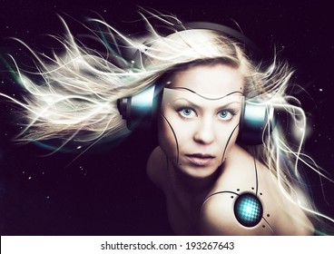future cyborg woman over dark background