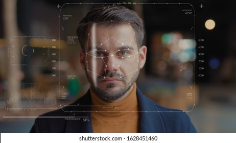 Future. Face Detection. Technological 3d Scanning. Biometric Facial Recognition. Face Id. Technological Scanning of the Face of Handsome Businessman for Facial Recognition. Shoted by Arri Alexa Mini