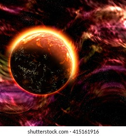 Future fantasy galaxy explorer atmosphere with nebula and yellow planet, digital illustration art work.