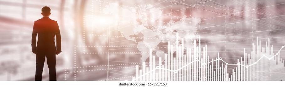 Future Financial Technology Interface. Graph Stock Market chart. World map on virtual screen. Website Banner.
