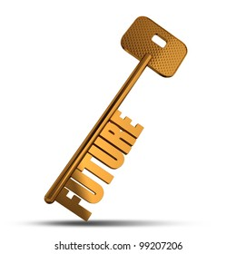 Future gold key isolated on white  background - Gold key with Future text as symbol for success in business - Conceptual image