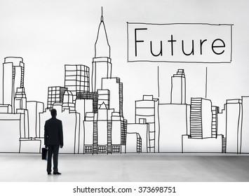 Future Imagine Development Forecast Cityscape Concept