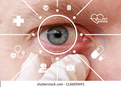 Future man with cyber technology treatment eye panel. Health eye new concept.