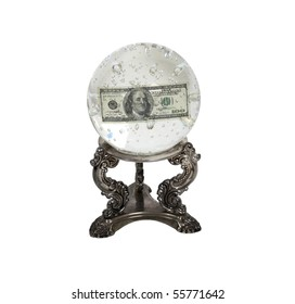 The future of money shown by a crystal ball for seeing into the future with miniature bubbles and money inside - path included