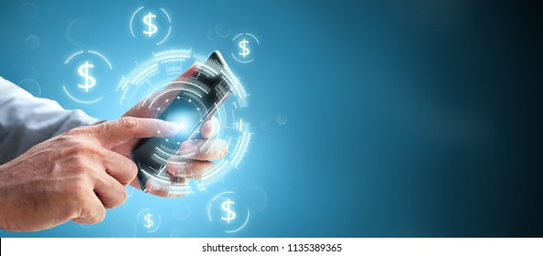 Future online digital financial banking wealth transformation technology. Successful Innovation using mobile transaction for internet business investment shopping money and payment global concept