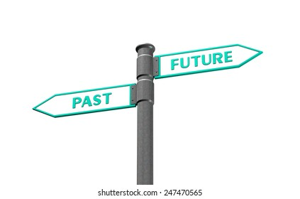 Future and past concept with road sign