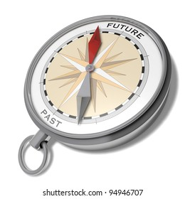 Future or past Fantasy illustration of a compass with a red arrow pointing to future and a grey arrow pointing to past