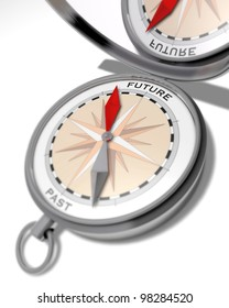Future or past Fantasy illustration of a compass with a red arrow pointing to future and a grey arrow pointing to past and a turned-up cover with the mirror image of the word future
