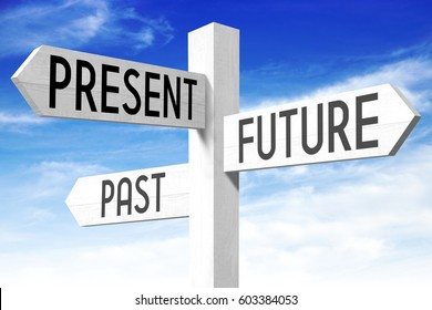 Future, present, past - wooden signpost