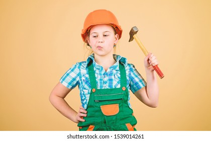 Future profession. Kid builder girl. Build your future yourself. Initiative child girl hard hat helmet builder worker. Tools to improve yourself. Child care development. Builder engineer architect.
