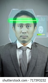 future scan interface face for security. business man scan face for unlock. concept for future scanning.