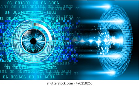 future technology, blue eye cyber security concept background, abstract hi speed digital internet.motion move speed blur. wave