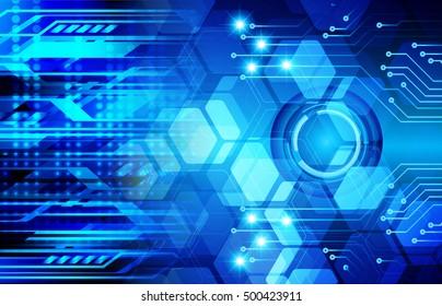 future technology, blue light cyber security concept background, abstract hi speed digital data internet website. motion move speed blur. Hexagon pixel
