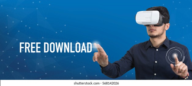 Future Technology and Business Concept: The Man with Glasses of Virtual Reality and touching FREE DOWNLOAD button