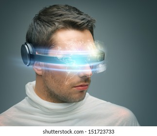 future technology and science fiction concept - man with digital glasses