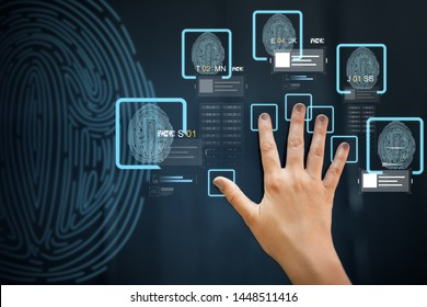 future technology, security and identification concept - hand using interactive panel touch screen with fingerprint scanning system