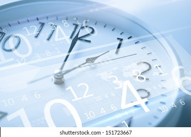 future technology and time management concept - clock and virtual screen