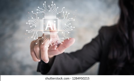Future technology touch screen interface. Hand businesswoman touching on screen interface AI (Artificial Intelligence) concept.