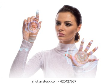 Future technology Virtual Holographic interface. Hi-tech Girl touching screen. Business Young lady working with virtual Graphics in futuristic office.Image isolated on white background.
