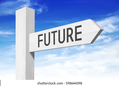 Future - white wooden signpost with one arrow