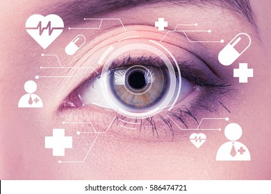 Future woman with cyber technology treatment eye panel concept