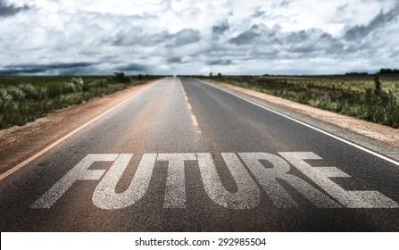 Future written on rural road