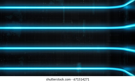 Futuristic abstract background glow blue light and reflection with digital data graphic. Future line curve concept background. 3D Render