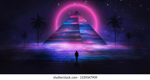 Futuristic abstract night neon background. Light pyramid in the center. Night view of the pyramid illumination. Neon lights reflected on wet asphalt.