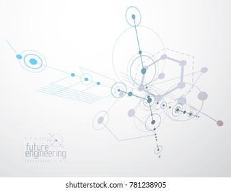 Futuristic abstract technology background. Mechanical engineering wallpaper.