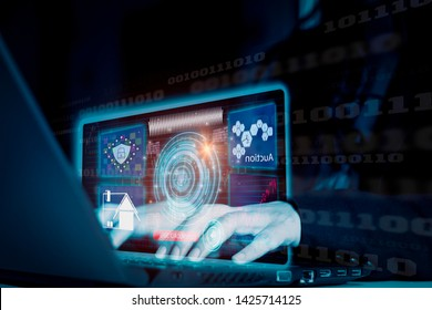 Futuristic advanced technology,Businessman using interface via laptop online auctions,security concept cyber data storage and safety over digital network,locking identity and password accessing device