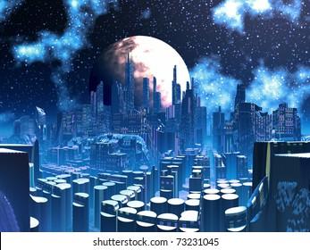 Futuristic Alien City built on Pylon Supports