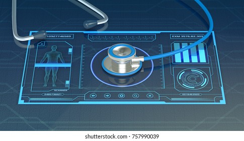 futuristic app interface for medical and scientific purpose, with a stethoscope, close-up (3d render)