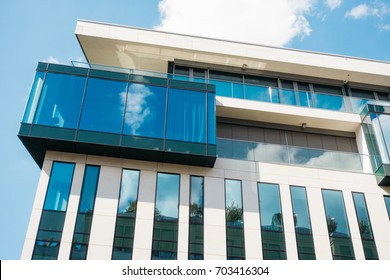 futuristic architecture with big glass windows and small lines