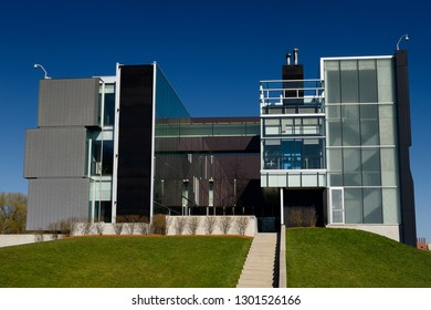 Futuristic architecture at the front of the Perimeter Institute building in Waterloo, Ontario, Canada - April 7, 2012