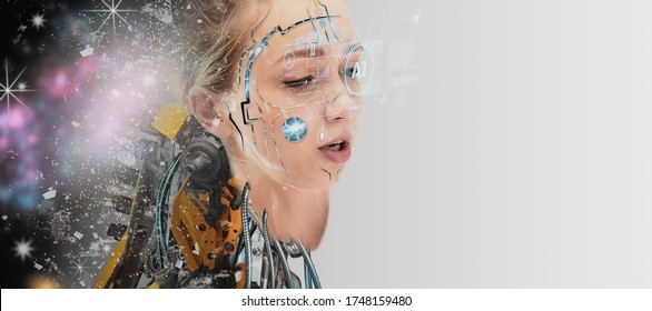 Futuristic artificial intelligence cyborg humanoid,robot face woman creative and makeup, with metal and electronics composition,concept science,biological,technology and robotic and innovation