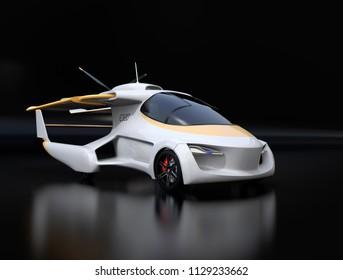 Futuristic autonomous car on black background. Flying car concept. 3D rendering image.