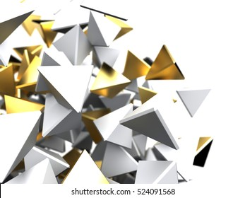 Futuristic background. 3d rendering gold and white pyramid