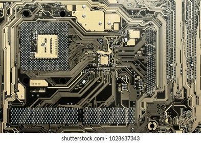 futuristic background with gold black PCB