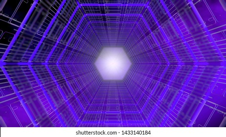 Futuristic background of a tunnel with hexagonal shape structure of purple and blue with white light in the background. 3D Illustration