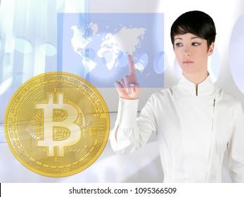Futuristic Bitcoin BTC woman touch screen transparent