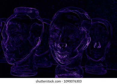 futuristic black background image with violet neon heads that speaks about indivituality in gregarious world, artificial intelligence