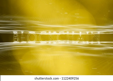 Futuristic blockchain word on abstract gold colored cyberspace bokeh background.