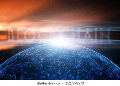 Futuristic blockchain word on abstract cyberspace sphere network illustration background. Selective focus used.