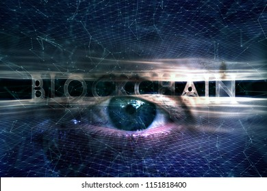 Futuristic blockchain word on abstract violet blue cyberspace network with artistic human eye background.