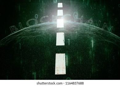 Futuristic blockchain word on abstract green colored; asphalt road background.