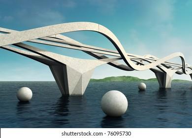 Futuristic bridge. Architectural composition. 3d.