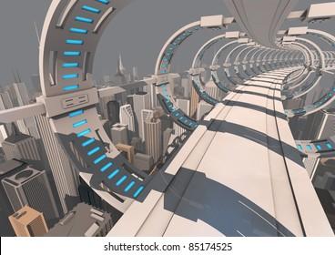 futuristic bridge over a modern city
